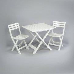 Ensemble table plus deux chaises pliantes